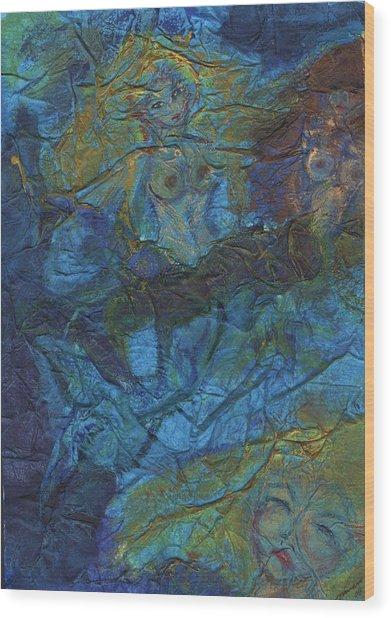 Mermaid Musings Wood Print by Cathy Minerva