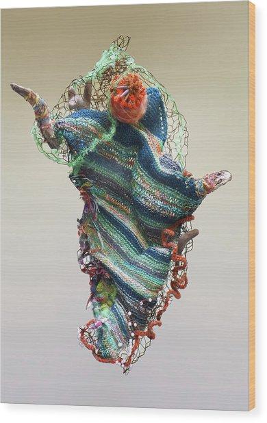 Mermaid Sculpture Wood Print