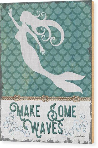 Mermaid Waves 1 Wood Print
