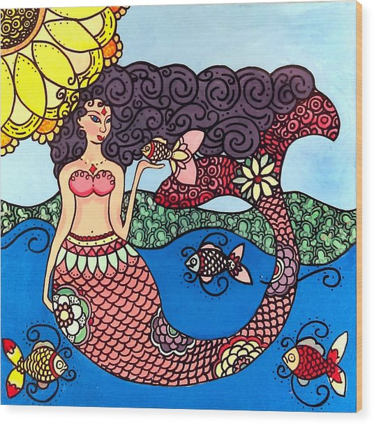 Mermaid With Fish Wood Print