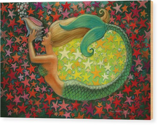 Mermaid's Circle Wood Print