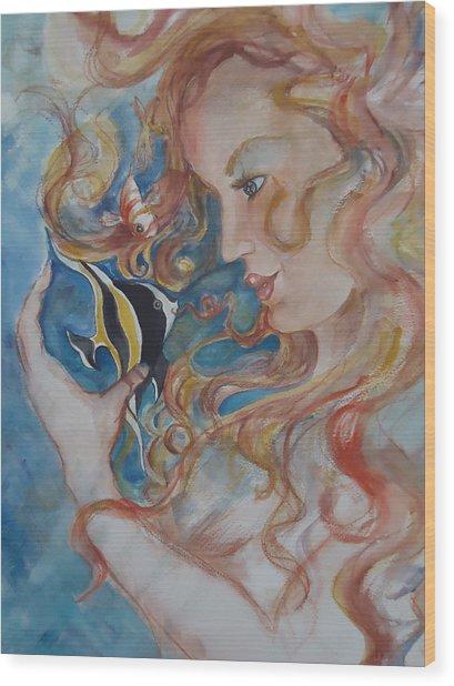 Mermaids Kiss Wood Print