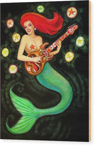 Mermaids Rock Tiki Guitar Wood Print