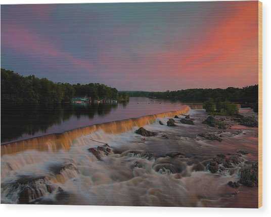 Merrimack River Falls Wood Print