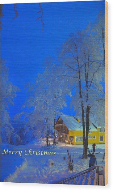 Merry Christmas Cabin Digital Art Wood Print