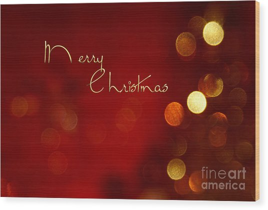 Merry Christmas Card - Bokeh Wood Print