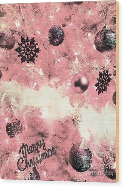 Merry Christmas In Pink Wood Print