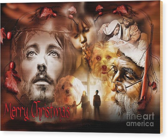 Wood Print featuring the digital art Merry Christmas by Kathy Tarochione