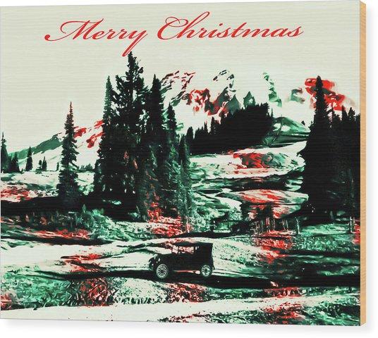 Merry Christmas Mount Rainier Wood Print