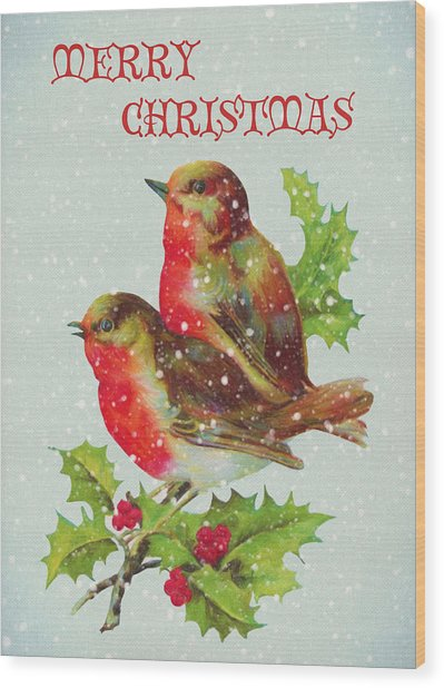 Merry Christmas Snowy Bird Couple Wood Print