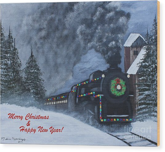 Merry Christmas Train Wood Print