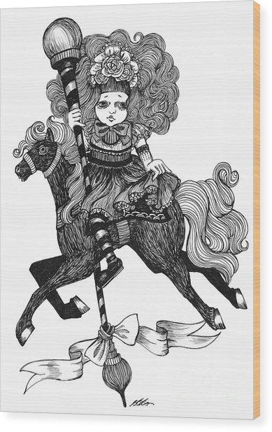 Merry-go-round Girl Wood Print