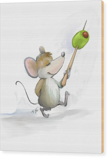 Merry Mouse Moe With Olive Wood Print