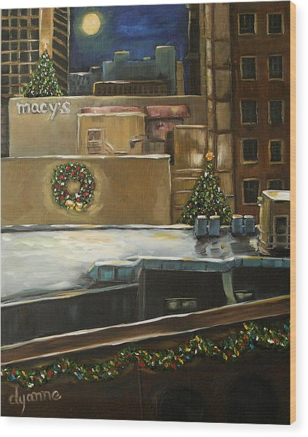 Merry Rooftops Wood Print by Dyanne Parker