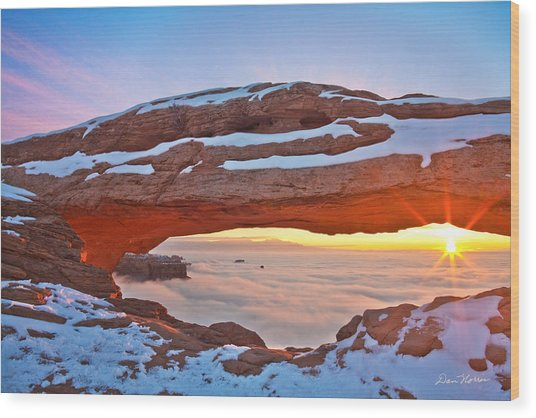 Mesa Arch And Winter Inversion Wood Print
