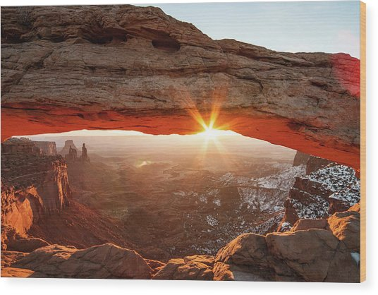 Wood Print featuring the photograph Mesa Arch by Wesley Aston