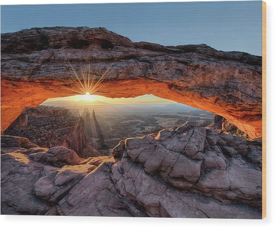 Mesa Arch Sunburst By Olena Art Wood Print