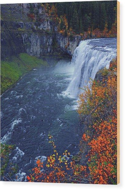 Mesa Falls In The Fall Wood Print