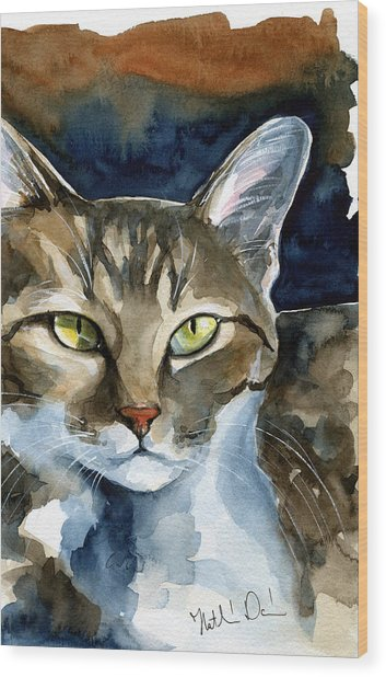 Mesmerizing Eyes - Tabby Cat Painting Wood Print