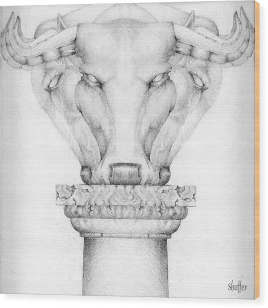 Mesopotamian Capital Wood Print