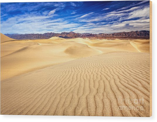 Mesquite Flat Sand Dunes In Death Valley Wood Print