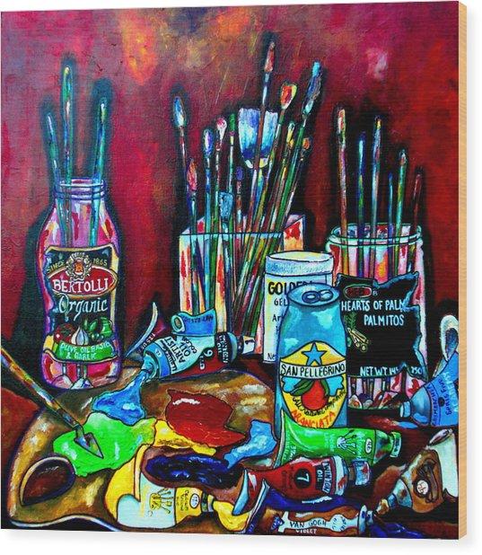 Messy Paints II Wood Print by Patti Schermerhorn