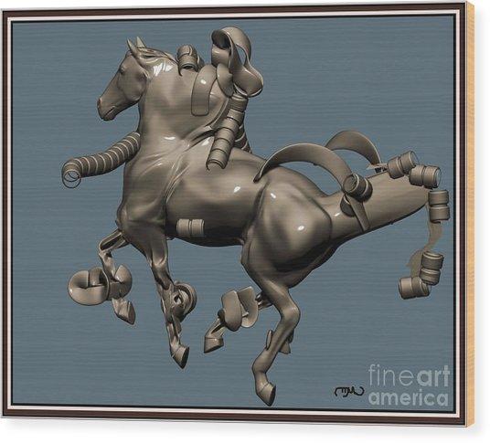 metal horse statue 40MHS1 Wood Print by Pemaro