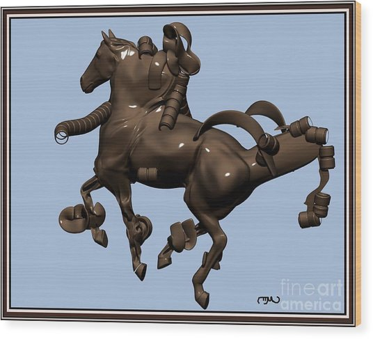 metal horse statue 45MHS1 Wood Print by Pemaro
