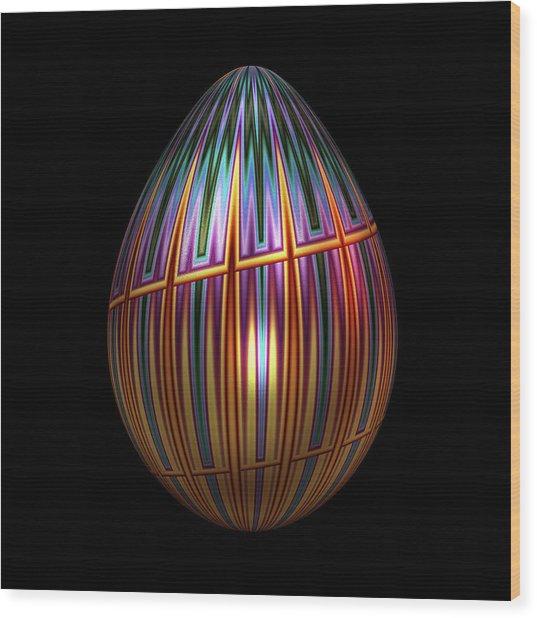 Metallic Christmas Egg Wood Print