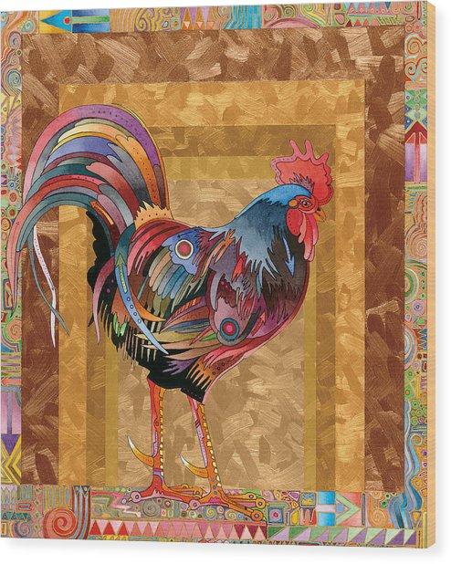 Metallic Rooster Wood Print