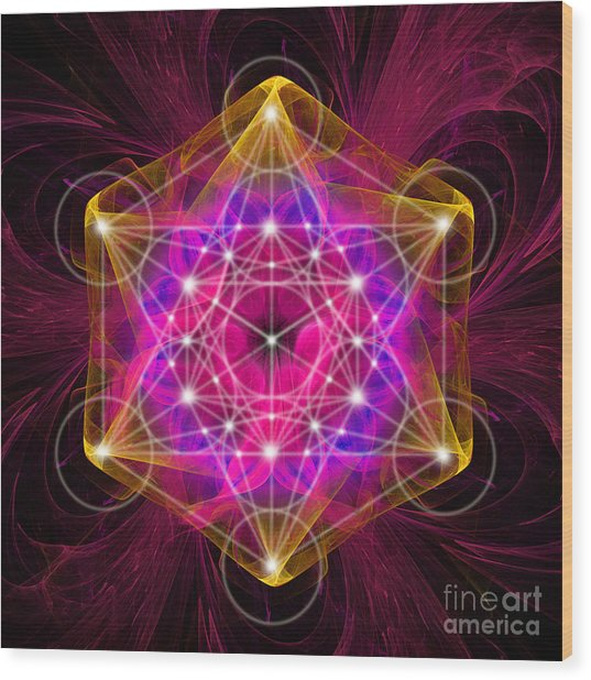 Metatron's Cube With Flower Of Life Wood Print