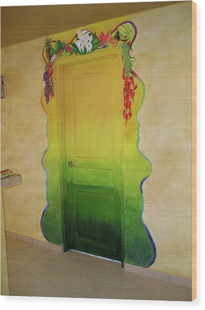 Mexican Blanket Door Mural Wood Print by Patty Rebholz