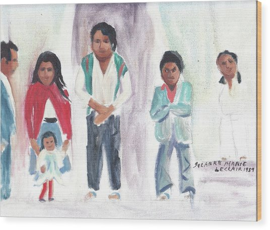 Mexican Church People Wood Print by Suzanne  Marie Leclair