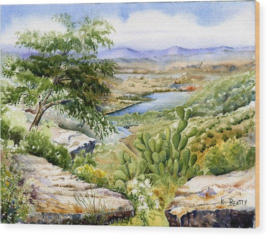 Mexican Landscape Watercolor Wood Print