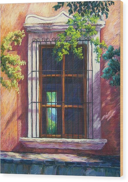 Mexico Window Wood Print by Candy Mayer