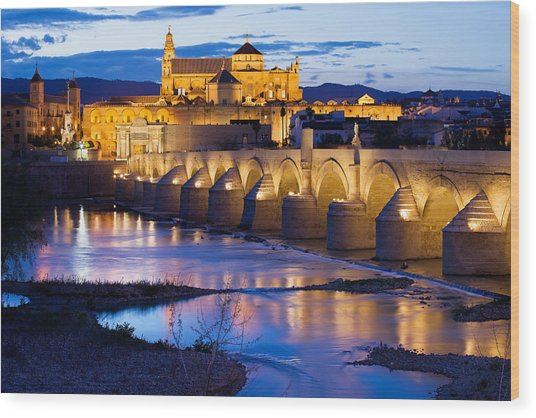 Cathedral Mosque And Roman Bridge In Cordoba Wood Print