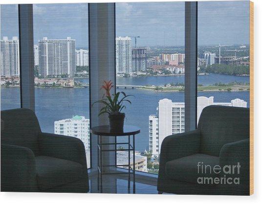 Miami Business World Wood Print by Mary Lou Chmura