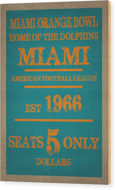 Miami Dolphins Sign Wood Print