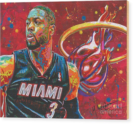 Miami Heat Legend Wood Print