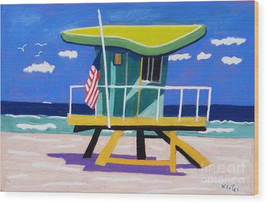 Miami Lime Green Hut Wood Print by Lesley Giles