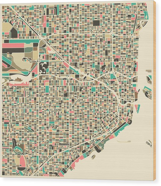 Miami Map Wood Print
