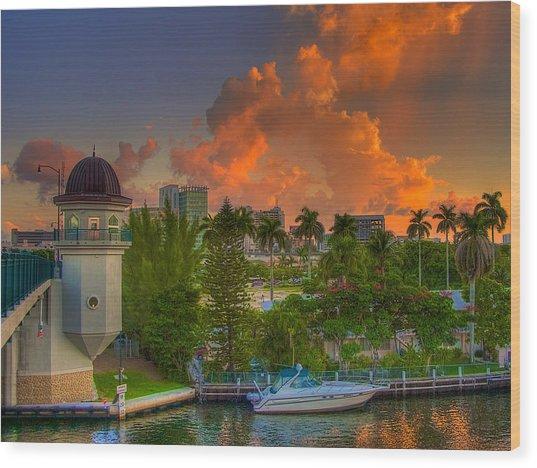 Miami River Bridge Wood Print