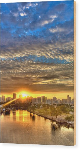 Miami River Sunrise Wood Print by William Wetmore