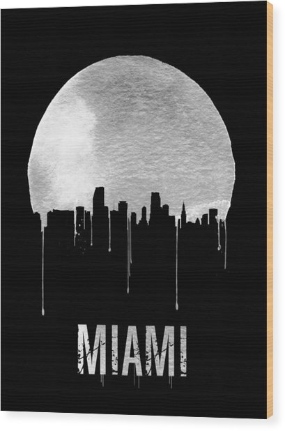 Miami Skyline Black Wood Print