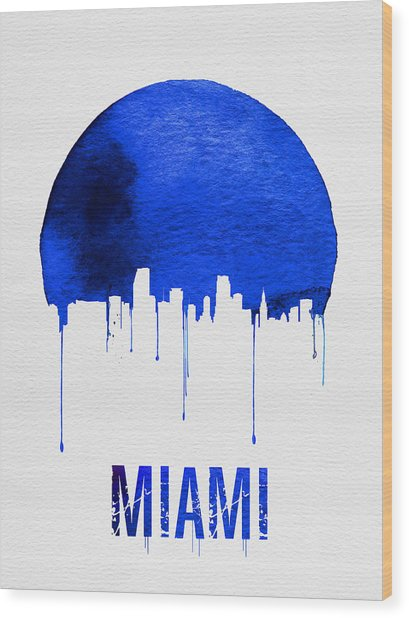 Miami Skyline Blue Wood Print