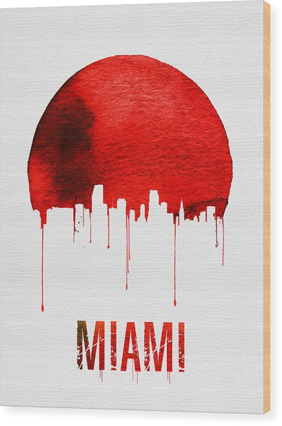 Miami Skyline Red Wood Print