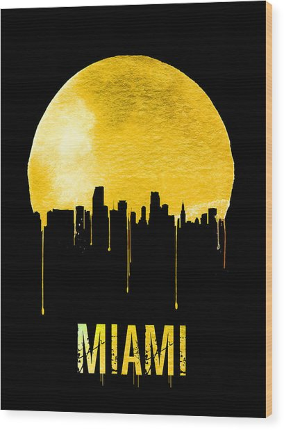 Miami Skyline Yellow Wood Print