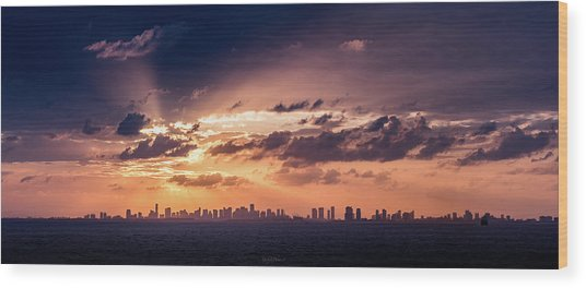 Miami Sunset Pano Wood Print