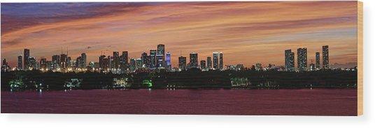 Miami Sunset Panorama Wood Print