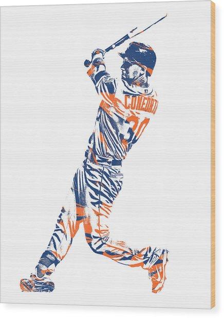 Michael Conforto New York Mets Pixel Art 1 Wood Print